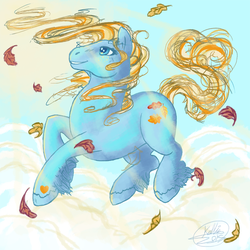 Size: 800x800 | Tagged: safe, artist:lanku, autumn skye, cloud, cloudy, female, g3, leaves, solo