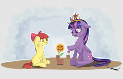 Size: 1280x825 | Tagged: safe, artist:novaquinmat, apple bloom, twilight sparkle, alicorn, earth pony, big crown thingy, duo, duo female, element of magic, facial hair, female, floppy ears, flower, jewelry, mare, moustache, regalia, sitting, twilight sparkle (alicorn)