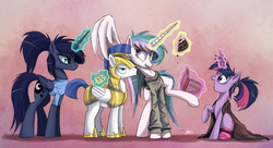 Size: 2500x1363 | Tagged: safe, artist:ncmares, princess celestia, princess luna, twilight sparkle, alicorn, pony, ask majesty incarnate, alternate hairstyle, bed mane, blanket, book, cake, cakelestia, clothes, cute, eating, female, frown, hnnng, kick me, levitation, licking lips, magic, mare, messy mane, ncmares is trying to murder us, open mouth, ponytail, prank, raised leg, royal guard, royal sisters, scrunchy face, shirt, smiling, socks, sweater, telekinesis, tickling, trolling, twilight sparkle (alicorn), unamused