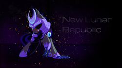 Size: 2560x1440 | Tagged: artist:equestria-prevails, artist:sgtwaflez, bat pony, edit, male, new lunar republic, night guard, pony, safe, solo, wallpaper, wallpaper edit