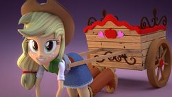 Size: 1920x1080 | Tagged: 3d, 3d model, apple cart, applejack, artist:creatorofpony, artist:shipisloveshipislife, blender, boots, cart, clothes, cowboy boots, cowboy hat, cowgirl, cycles, denim skirt, equestria girls, grin, hat, high heel boots, humans doing horse things, kneeling, looking at you, safe, shoes, skirt, smiling, stetson, wallpaper, who's a silly human