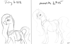 Size: 1641x1028 | Tagged: safe, artist:patch, amira, belly, comparison, draw this again, monochrome, pregnant, sketch, solo