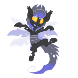 Size: 640x640 | Tagged: artist:divergentassailant, blue changeling, changeling, jumping, oc, oc:deft serenity, oc only, safe, scar, simple background, smiling, solo, transparent background