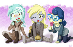 Size: 1314x844 | Tagged: safe, artist:uotapo, bon bon, derpy hooves, lyra heartstrings, sweetie drops, equestria girls, :o, adorabon, blushing, boots, candy, cute, derpabetes, female, food, glasses, jedi, lollipop, lyrabetes, mint, muffin, one eye closed, open mouth, padawan, shoes, sitting, smiling, star wars, tongue out, twisted bon bon, uotapo is trying to murder us, uotapo will kill us all, wide eyes, wink, younger