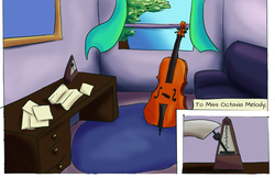 Size: 5100x3300 | Tagged: safe, artist:fox-moonglow, octavia melody, comic:octavia's aria, cello, comic, couch, metronome, musical instrument, room, table, window