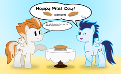 Size: 4896x3000 | Tagged: safe, artist:chainchomp2, fire streak, soarin', pegasus, pony, :i, dialogue, gradient background, high res, male, paper mario, pi, pi day, pie, raised hoof, stallion, style emulation, that pony sure does love pies, vector, wink, wonderbolts