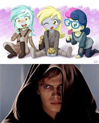 Size: 1280x1595 | Tagged: safe, artist:uotapo, edit, bon bon, derpy hooves, lyra heartstrings, sweetie drops, equestria girls, :o, anakin skywalker, blushing, candy, crossing the line twice, cute, darth vader, derpabetes, doom the movie, glasses, image macro, imminent death, implied death, jedi, lollipop, lyrabetes, meme, mint, moral event horizon, muffin, open mouth, order 66, padawan, pure unfiltered evil, revenge of the sith, sith, sitting, smiling, star wars, this will end in tears and/or death, we are going to hell, why would you post that, wide eyes, wink, you crossed the line twice