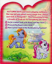 Size: 649x800   Tagged: safe, autumn skye, star swirl, g3, backcard, text