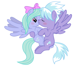 Size: 2000x1796 | Tagged: safe, artist:ispincharles, cloudchaser, flitter, cute, female, incest, lesbian, pegacest, shipping