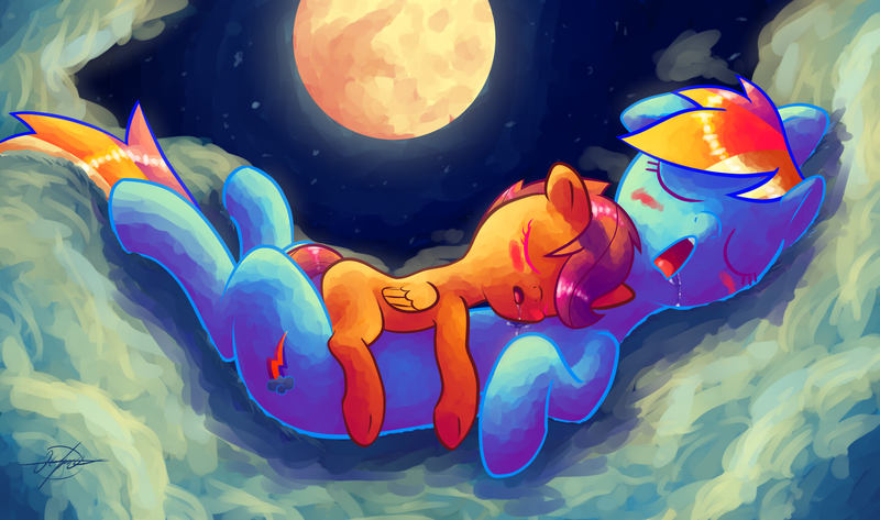 Size: 1920x1136 | Tagged: artist:halem1991, backwards cutie mark, blushing, cloud, cloudy, cuddling, cute, cutealoo, dashabetes, drool, eyes closed, featured image, female, filly, halem1991 is trying to murder us, mare, moon, pegasus, pony, rainbow dash, safe, scootaloo, scootalove, sleeping