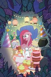 Size: 600x911 | Tagged: safe, artist:tonyfleecs, madame leflour, mr. turnip, pinkie pie, rocky, sir lintsalot, idw, party of one, alice in wonderland, balloon, cake, cover, cupcake, i can't believe it's idw, lantern, mad hatter, paper lantern, pinkamena diane pie, tea kettle, teacup