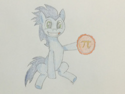 Size: 780x585 | Tagged: safe, artist:ricky2314, soarin', hoof hold, pi, pi day, pie, that pony sure does love pies, traditional art
