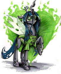Size: 2550x3096 | Tagged: safe, artist:mattings, queen chrysalis, changeling, changeling queen, clothes, crown, female, grin, jewelry, regalia, shirt, solo, t-shirt