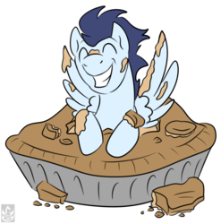 Size: 1732x1750 | Tagged: safe, artist:stormblaze-pegasus, soarin', cute, eyes closed, grin, happy, male, pi day, pie, simple background, soarinbetes, solo, spread wings, that pony sure does love pies, transparent background