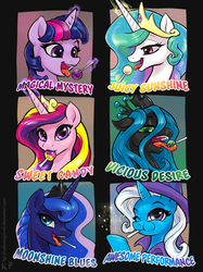 Size: 1250x1667 | Tagged: safe, artist:kp-shadowsquirrel, princess cadance, princess celestia, princess luna, queen chrysalis, trixie, twilight sparkle, alicorn, pony, unicorn, candy, cape, clothes, crown, cute, cutealis, cutedance, cutelestia, diatrixes, eating, female, flavor, food, food porn, hat, jewelry, levitation, lollipop, looking at you, lunabetes, magic, mare, one eye closed, open mouth, regalia, smiling, smiling at you, telekinesis, text, tongue out, trixie's cape, trixie's hat, twiabetes, twilight sparkle (alicorn), wink