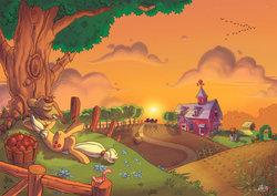 Size: 1024x724 | Tagged: safe, artist:thezeo, apple bloom, applejack, scootaloo, sweetie belle, earthworm, apple orchard, crossed legs, cutie mark crusaders, eyes closed, nap, resting, sleeping, sun, sunset, sweet apple acres, tree, under the tree