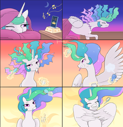Size: 2000x2063 | Tagged: safe, artist:arareroll, princess celestia, alicorn, pony, adorkable, alarm clock, beautiful, bed, bed mane, blanket, brush, brushie, brushing, clock, comic, cute, cutelestia, dork, ethereal mane, eyes closed, female, floppy ears, flowing mane, frown, gradient background, grin, magic, majestic as fuck, mare, messy mane, morning ponies, multicolored mane, multicolored tail, music notes, praise the sun, pretty, princess dorklestia, purple eyes, sillestia, silly, silly face, silly pony, slice of life, smiling, solo, sparkles, spray bottle, spread wings, telekinesis, tired, toothbrush, toothpaste, wall of tags, wing hands, wings, wink