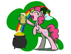 Size: 1280x960   Tagged: safe, artist:flutterluv, pinkie pie, earth pony, pony, cider, clover, cup, eyes closed, female, four leaf clover, gold, hat, hoof hold, mug, pot, pot of gold, rainbow, rearing, saint patrick's day, smiling, solo