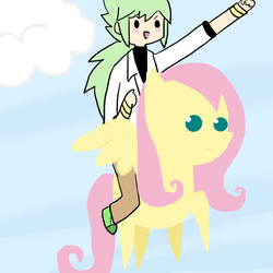 Size: 600x600 | Tagged: artist:absolute-dreamer, crossover, duo, female, fluttershy, human, humans riding ponies, male, mare, n, natural harmonia gropius, pegasus, pointy ponies, pokémon, pony, riding, safe