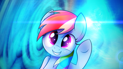 Size: 3840x2160 | Tagged: safe, artist:heavymetalbronyyeah, artist:zapplebow, rainbow dash, pegasus, pony, female, lens flare, looking at you, mare, smiling, solo, vector, wallpaper, waving
