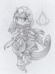 Size: 749x1000 | Tagged: safe, artist:dfectivedvice, octavia melody, pony, assassin's creed, bipedal, cosplay, grayscale, monochrome, traditional art