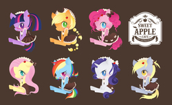 Size: 5128x3168 | Tagged: safe, artist:catseyeart, applejack, derpy hooves, fluttershy, pinkie pie, rainbow dash, rarity, twilight sparkle, pegasus, pony, bow, braid, braided tail, clothes, cowboy hat, derpy duster, dress, embarrassed, female, fluttermaid, frayed hair, giddy, glasses, hair bow, happy, hat, heart, maid, maidity, maidjack, maidlight sparkle, mane six, mare, pinkie maid, pixiv, ponytail, rainbow maid, tsundere