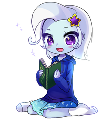 Size: 500x619 | Tagged: safe, artist:weiliy, trixie, equestria girls, alternate hairstyle, barrette, blushing, book, clothes, cute, daaaaaaaaaaaw, diatrixes, dress, female, hairclip, hairpin, happy, hnnng, hoodie, open mouth, reading, short hair, simple background, sitting, skirt, smiling, socks, solo, sparkly eyes, the wizard of oz, the wonderful wizard of oz, weiliy is trying to murder us, white background, wingding eyes, younger