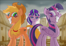 Size: 871x617 | Tagged: safe, artist:jowybean, applejack, starlight glimmer, twilight sparkle, alicorn, earth pony, pony, unicorn, twijack weekly, the cutie map, bad end, crying inside, equal cutie mark, female, grin, lesbian, mare, mind control, our town, smiling, the bad guy wins, this will end in communism, twijack, twilight sparkle (alicorn)