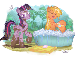 Size: 934x698 | Tagged: alicorn, applejack, artist:jowybean, bath, bathtub, earth pony, female, lesbian, loose hair, mare, messy, messy mane, mud, muddy, outdoors, pony, safe, shipping, soap, towel, twijack, twijack weekly, twilight sparkle, twilight sparkle (alicorn), wet mane