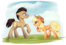Size: 1024x705 | Tagged: apple, applejack, applewhooves, artist:wordswhisperer, doctor whooves, female, male, safe, shipping, straight, time turner