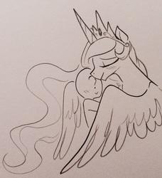 Size: 2153x2362 | Tagged: safe, artist:glacierclear, princess celestia, oc, oc:anon, alicorn, pony, :>, blushing, cute, eyes closed, female, hug, human on pony snuggling, mare, momlestia, monochrome, nuzzling, smiling, snuggling, winghug