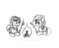 Size: 1260x1030 | Tagged: safe, artist:anearbyanimal, earth pony, pony, campfire, epona, female, fire, hoof hold, link, mare, marshmallow, monochrome, ponified, prone, smiling, stick, the legend of zelda, wavy mouth