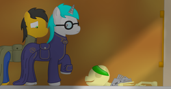 Size: 900x472 | Tagged: safe, artist:minty candy, oc, oc only, oc:minty candy, oc:twintails, cyborg, pegasus, pony, unicorn, fallout equestria, fallout equestria: occupational hazards, clothes, dead, glasses, indoors, skeleton, story