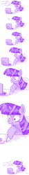 Size: 500x3000   Tagged: dead source, safe, artist:artizluv, twilight sparkle, pony, unicorn, comic, computer, crying, dialogue, dramatic zoom, female, laptop computer, mare, monochrome, reaction, reaction to own portrayal, shrunken pupils, simple background, solo, teary eyes, white background, zoom