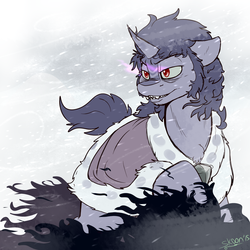 Size: 1500x1500 | Tagged: safe, artist:skoon, king sombra, blizzard, male, snow, snowfall, solo