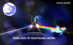 Size: 1024x627 | Tagged: album cover, alicorn, artist:dan232323, dark, eyes closed, female, flying, hipgnosis, mare, mare in the moon, nightmare moon, parody, pegasus, pink floyd, ponified, ponified album cover, pony, rainbow dash, safe, sparkles, the dark side of the moon, vector