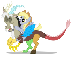 Size: 2800x2250 | Tagged: safe, artist:mixermike622, derpy hooves, discord, draconequus, pegasus, pony, applejack's hat, cowboy hat, cute, derpy riding discord, discute, female, happy, hat, male, mare, ponies riding draconequi, riding, riding discord, show accurate, simple background, transparent background, underp, vector, white background