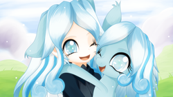 Size: 3840x2160   Tagged: safe, artist:an-m, oc, oc only, oc:snowdrop, human, pegasus, pony, colored pupils, cute, ear fluff, eared humanization, female, holding a pony, hug, human ponidox, humanized, humanized oc, looking at you, mare, one eye closed, open mouth, smiling, snowbetes, weapons-grade cute, wink