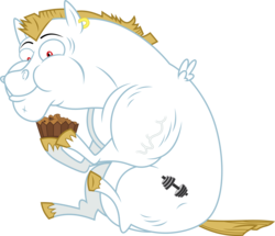 Size: 1600x1375 | Tagged: safe, artist:chainchomp2, bulk biceps, pegasus, pony, rainbow falls, .svg available, apple brown betty (food), ear piercing, earring, eating, food, jewelry, male, piercing, simple background, sitting, solo, stallion, transparent background, vector, vein