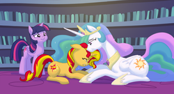 Size: 1544x835 | Tagged: safe, artist:carnifex, princess celestia, sunset shimmer, twilight sparkle, alicorn, pony, begging, commission, crying, eyes closed, feels, female, floppy ears, forgiveness, gritted teeth, heartwarming in hindsight, mare, nuzzling, prone, reunion, smiling, the prodigal sunset, twilight sparkle (alicorn)