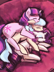 Size: 720x960 | Tagged: safe, artist:lumineko, coco pommel, rarity, twilight sparkle, earth pony, pony, unicorn, 30 minute art challenge, bed, cocobetes, cocosparkle, cuddle puddle, cuddling, cute, eyes closed, female, lesbian, mare, marshmallow coco, marshmallow cocosparkle, pony pile, shipping, smiling, snuggling