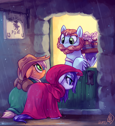 Size: 1330x1449 | Tagged: safe, artist:whitediamonds, applejack, rarity, beard, cloak, clothes, crossover, female, floppy ears, frown, hood, hoof hold, leaning, lesbian, lord of the rings, messy mane, rain, rarijack, rarijack daily, rearing, shipping, smiling, tavern, the prancing pony, unshorn fetlocks, wet, wet mane, wet mane rarity