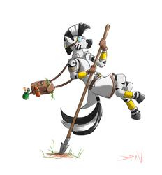 Size: 7190x7748 | Tagged: safe, artist:eriada, zecora, anthro, zebra, absurd resolution, goggles, satchel, simple background, solo, spear, white background