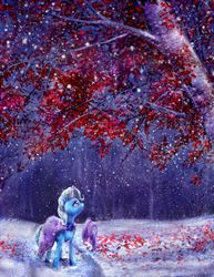 Size: 1600x2071 | Tagged: safe, artist:viwrastupr, trixie, pony, unicorn, female, forest, leaves, levitation, magic, mare, scenery, snow, snowfall, solo, tree, winter