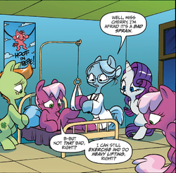 Size: 856x839 | Tagged: safe, idw, cheerilee, cherry blossom (idw), cloverleaf, rarity, spoiler:comic, spoiler:comic29, doctor, hang in there, hospital, sisters, twins