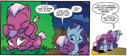 Size: 1237x550 | Tagged: safe, idw, cheerilee, cherry blossom (idw), rarity, spoiler:comic, spoiler:comic29, filly, sisters, twins