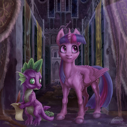 Size: 2000x2000 | Tagged: safe, artist:gor1ck, spike, twilight sparkle, alicorn, pony, castle of the royal pony sisters, detailed, female, mare, twilight sparkle (alicorn), uncanny valley