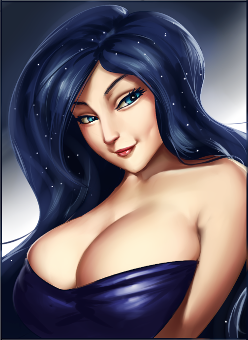 856784 Artistlvl Bedroom Eyes Breasts Busty Princess Luna Cleavage Dimples Female Human Humanized Princess Luna Smiling Solo Solo Female