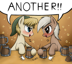 Size: 1260x1130 | Tagged: safe, artist:anearbyanimal, earth pony, pony, blaze (coat marking), blushing, cider, dialogue, drinking contest, drunk, epona, eye contact, female, hat, hilarious in hindsight, link, looking at each other, male, mare, motion lines, mug, open mouth, ponified, smiling, stallion, tankard, the legend of zelda