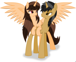 Size: 1383x1135 | Tagged: alicorn, alicorn oc, couple, oc, oc:handy hoofs, oc only, oc:spring beauty, pony, safe, springhoofs